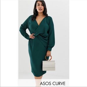 ASOS Design curve Green Long Sleeve Midi dress NWT